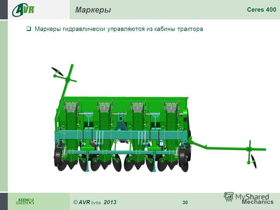 © AVR bvba 2013 30 Ceres 400 Mechanics Маркеры Маркеры гидравлически управляются из кабины трактора