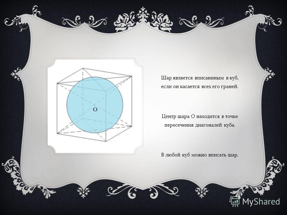 Шар является вписаннным в куб, если он касается всех его граней. Центр шара O находится в точке пересечения диагоналей куба. В любой куб можно вписать шар.