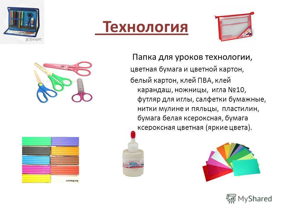 Технология Папка для уроков технологии, цветная бумага и цветной картон, белый картон, клей ПВА, клей карандаш, ножницы, игла 10, футляр для иглы, салфетки бумажные, нитки мулине и пяльцы, пластилин, бумага белая ксероксная, бумага ксероксная цветная