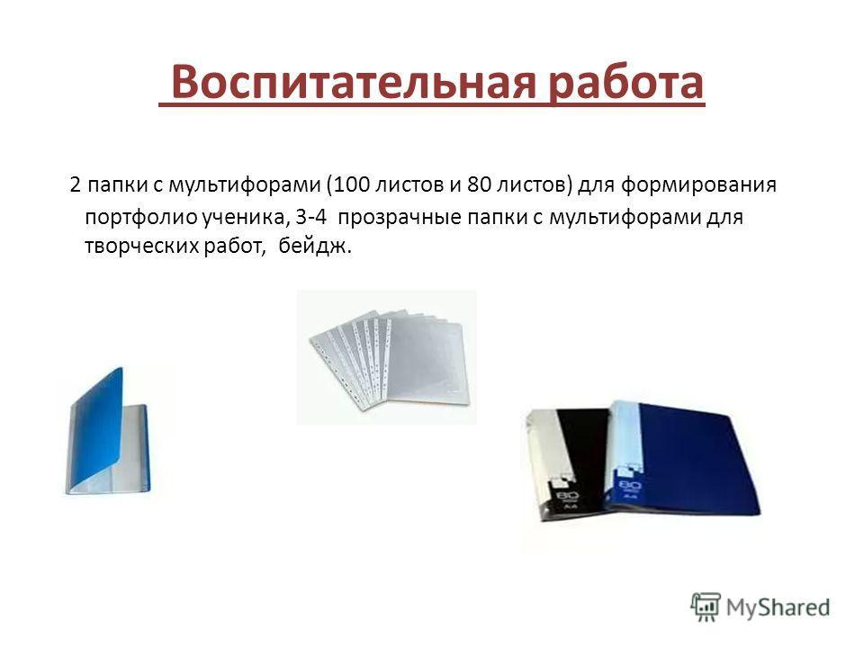Воспитательная работа 2 папки с мультифорами (100 листов и 80 листов) для формирования портфолио ученика, 3-4 прозрачные папки с мультифорами для творческих работ, бейдж.