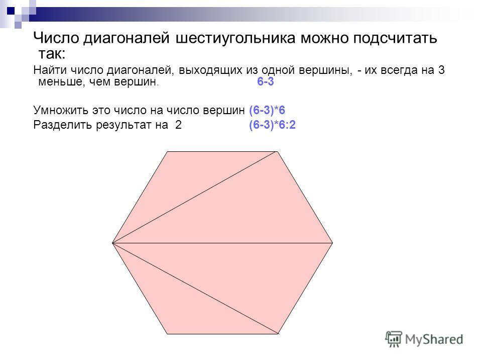 Число диагоналей шестиугольника можно подсчитать так: Найти число диагоналей, выходящих из одной вершины, - их всегда на 3 меньше, чем вершин. 6-3 Умножить это число на число вершин (6-3)*6 Разделить результат на 2 (6-3)*6:2