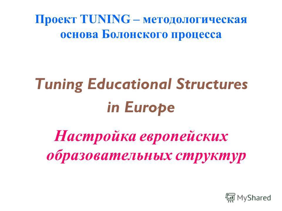Проект TUNING – методологическая основа Болонского процесса Tuning Educational Structures in Europe Настройка европейских образовательных структур