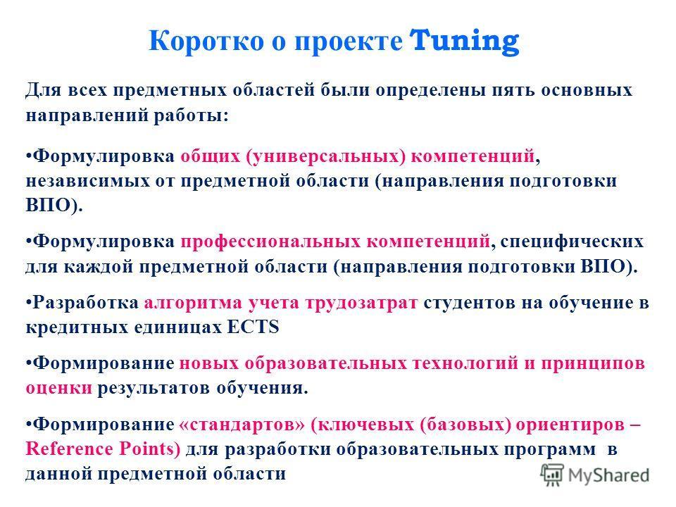 Коротко о проекте Tuning Для всех предметных областей были определены пять основных направлений работы: Формулировка общих (универсальных) компетенций, независимых от предметной области (направления подготовки ВПО). Формулировка профессиональных комп