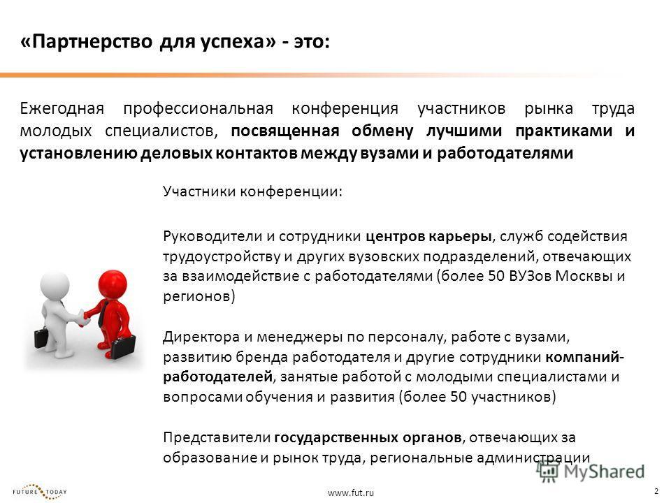 www.fut.ru 2 «Партнерство для успеха» - это: Ежегодная профессиональная конференция участников рынка труда молодых специалистов, посвященная обмену лучшими практиками и установлению деловых контактов между вузами и работодателями Участники конференци