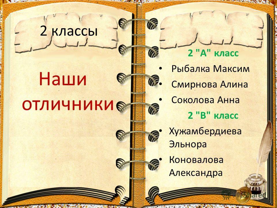 2 классы Наши отличники 2 А класс Рыбалка Максим Смирнова Алина Соколова Анна 2 В класс Хужамбердиева Эльнора Коновалова Александра