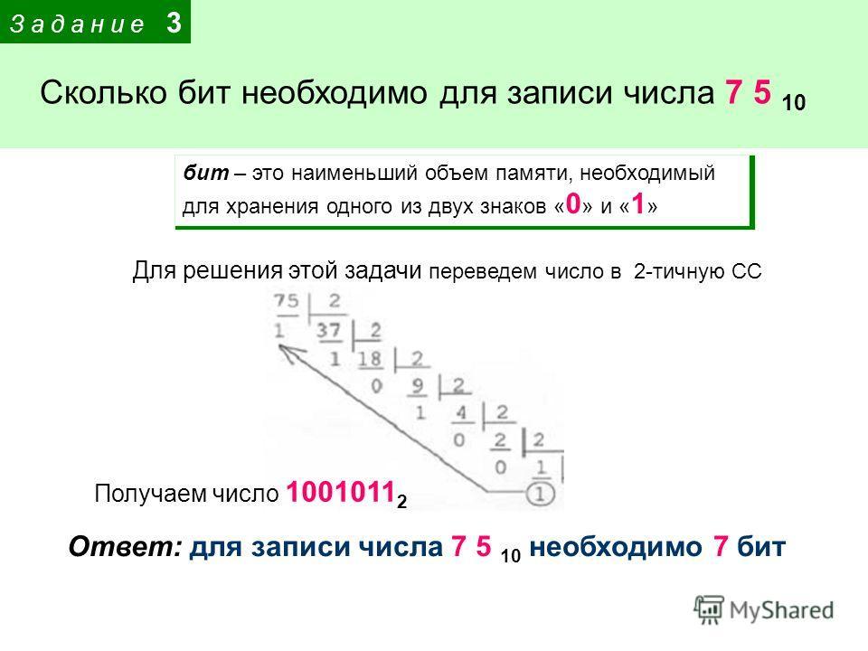 З а д а н и е 3 Сколько бит необходимо для записи числа 7 5 10 Для решения этой задачи переведем число в 2-тичную СС бит – это наименьший объем памяти, необходимый для хранения одного из двух знаков « 0 » и « 1 » Получаем число 1001011 2 Ответ: для з