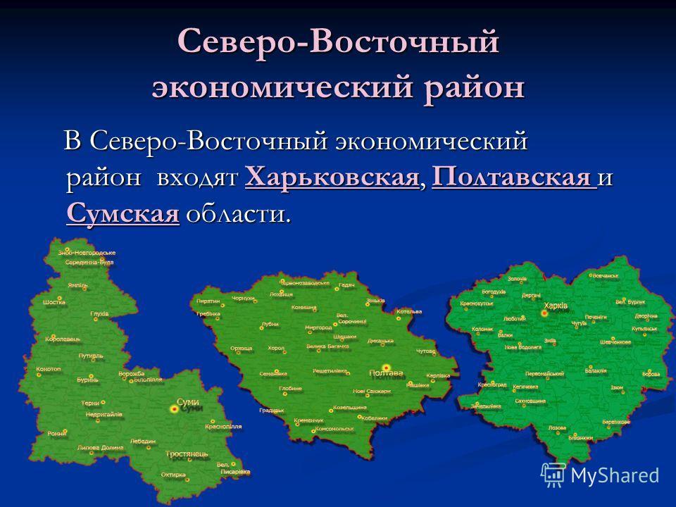 Северо-Восточный экономический район В Северо-Восточный экономический район входят Харьковская, Полтавская и Сумская области. В Северо-Восточный экономический район входят Харьковская, Полтавская и Сумская области.