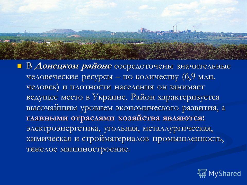 В Донецком районе сосредоточены значительные человеческие ресурсы – по количеству (6,9 млн. человек) и плотности населения он занимает ведущее место в Украине. Район характеризуется высочайшим уровнем экономического развития, а главными отраслями хоз