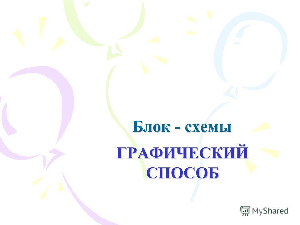 Блок - схемы ГРАФИЧЕСКИЙ СПОСОБ