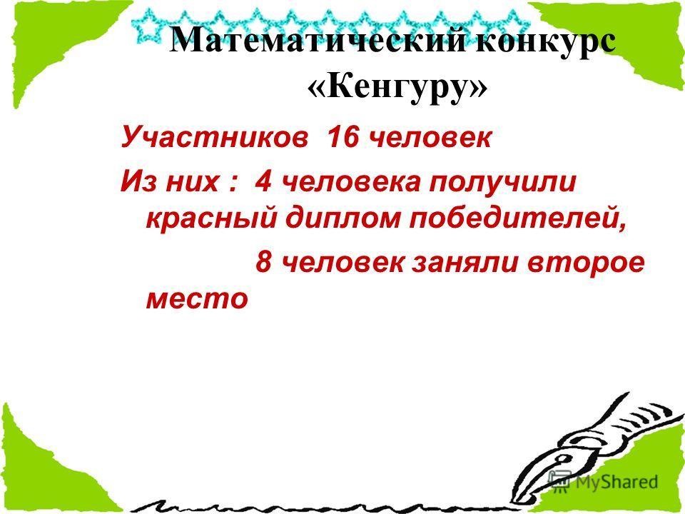 Математический конкурс «Кенгуру» Участников 16 человек Из них : 4 человека получили красный диплом победителей, 8 человек заняли второе место