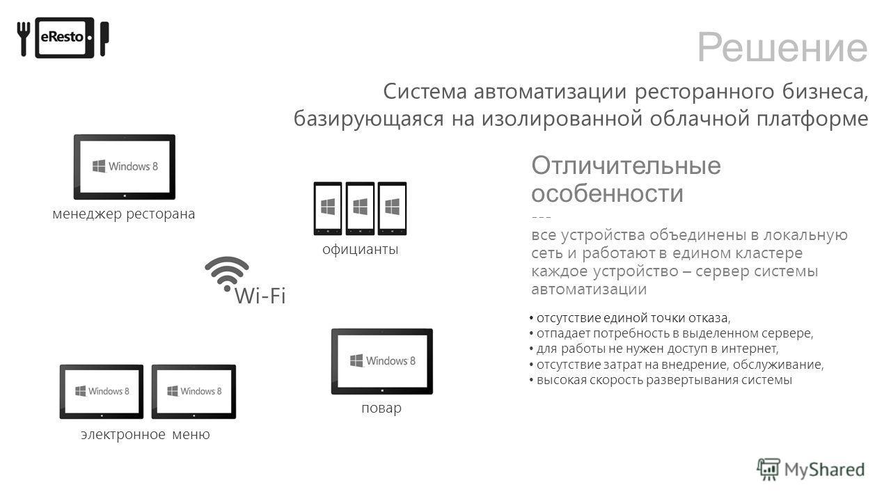 Решение Wi-Fi официанты повар электронное меню менеджер ресторана Система автоматизации ресторанного бизнеса, базирующаяся на изолированной облачной платформе отсутствие единой точки отказа, отпадает потребность в выделенном сервере, для работы не ну