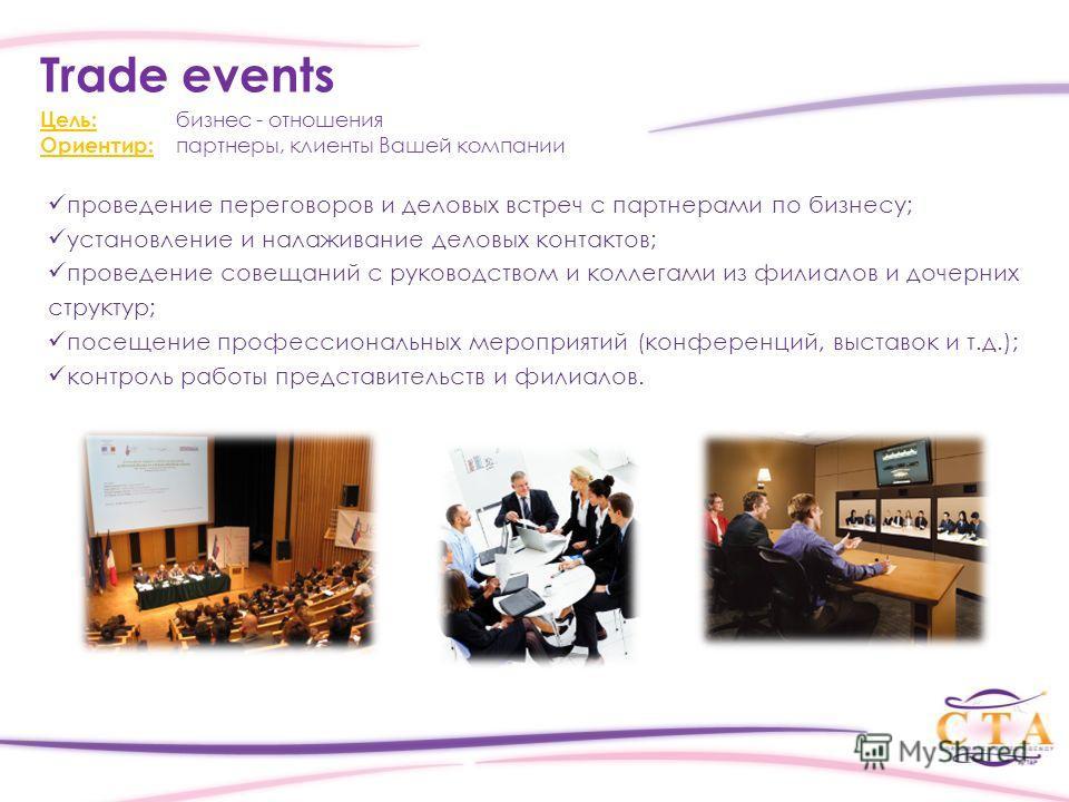проведение переговоров и деловых встреч с партнерами по бизнесу; установление и налаживание деловых контактов; проведение совещаний с руководством и коллегами из филиалов и дочерних структур; посещение профессиональных мероприятий (конференций, выста