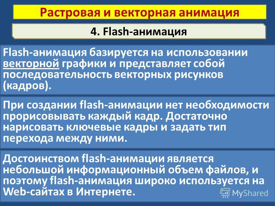 4. Flash-анимация Flash-анимация базируется на использовании векторной графики и представляет собой последовательность векторных рисунков (кадров). Растровая и векторная анимация При создании flash-анимации нет необходимости прорисовывать каждый кадр