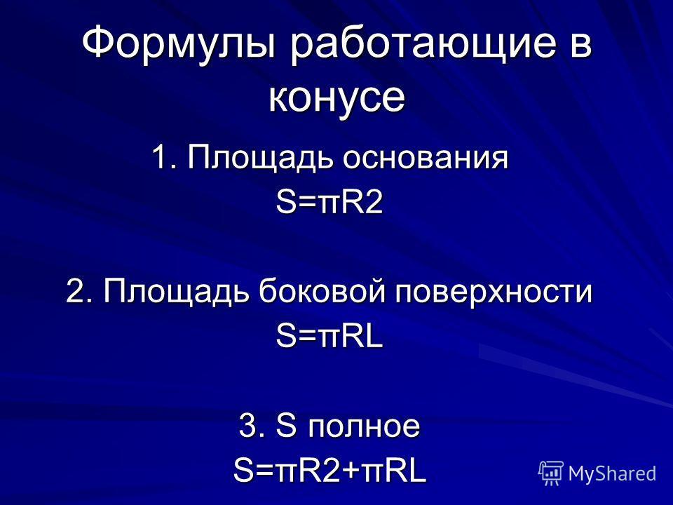 Формулы работающие в конусе 1. Площадь основания S=πR2 2. Площадь боковой поверхности S=πRL 3. S полное S=πR2+πRL