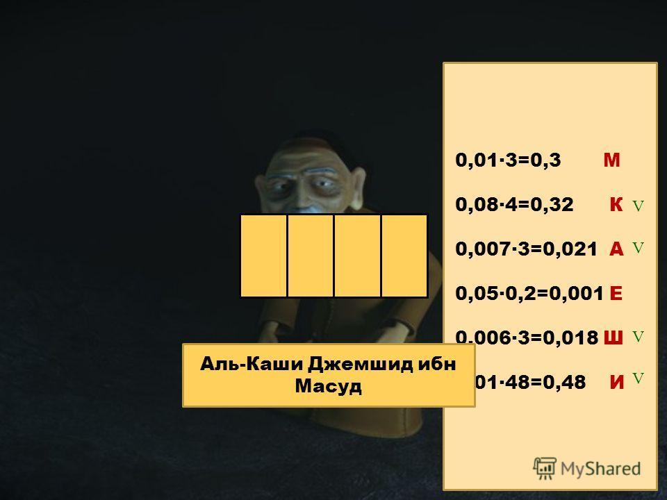каши 0,01·3=0,3 М 0,08·4=0,32 К 0,007·3=0,021 А 0,05·0,2=0,001 Е 0,006·3=0,018 Ш 0,01·48=0,48 И V V V V Аль-Каши Джемшид ибн Масуд
