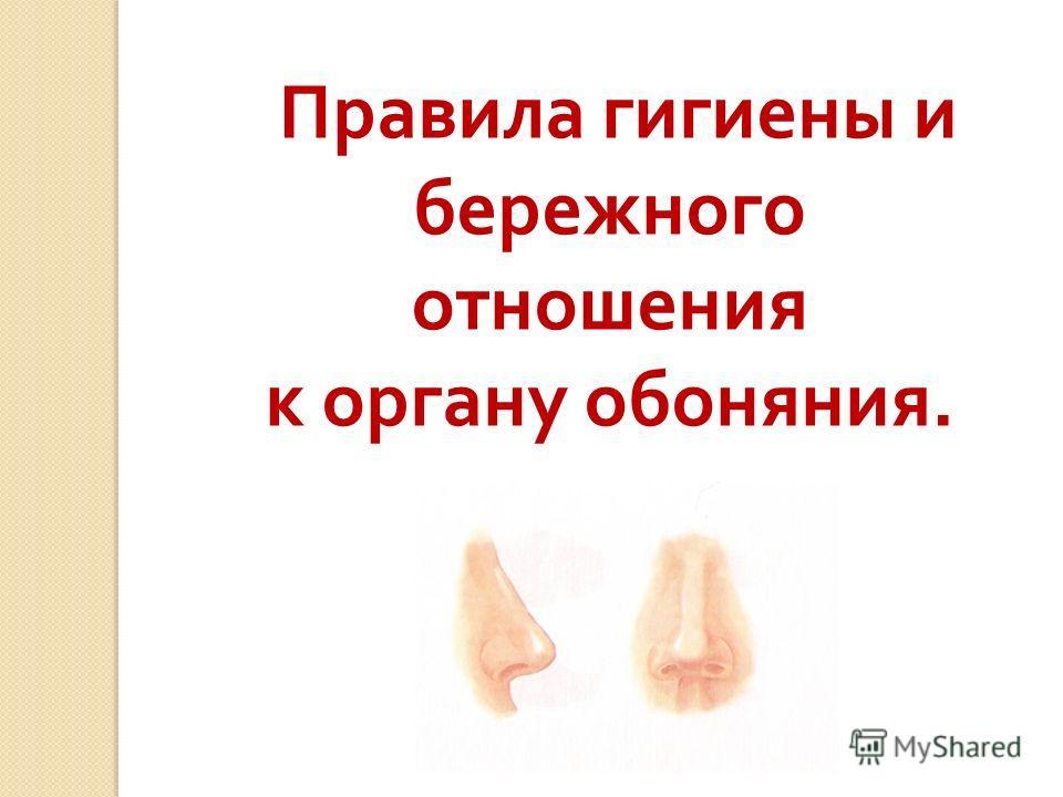 Правила гигиены и бережного отношения к органу обоняния.