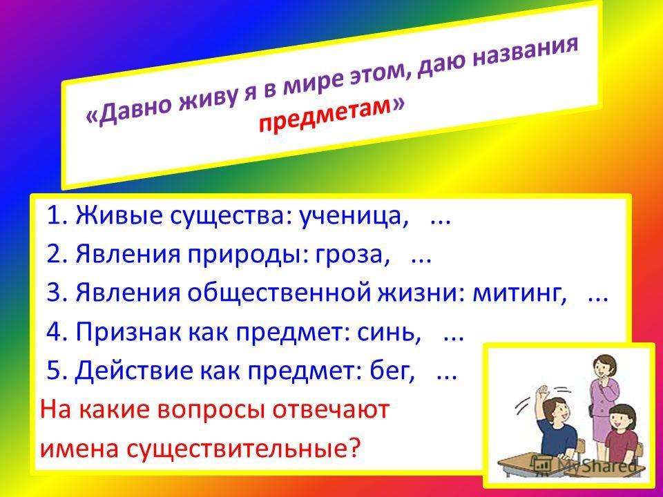 1. Живые существа: ученица,... 2. Явления природы: гроза,... 3. Явления общественной жизни: митинг,... 4. Признак как предмет: синь,... 5. Действие как предмет: бег,... На какие вопросы отвечают имена существительные?