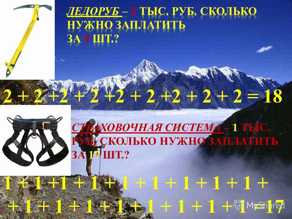 2 + 2 +2 + 2 +2 + 2 +2 + 2 + 2 =18 СТРАХОВОЧНАЯ СИСТЕМА – 1 ТЫС. РУБ. СКОЛЬКО НУЖНО ЗАПЛАТИТЬ ЗА 17 ШТ.? 1 + 1 +1 + 1 + 1 + 1 + 1 + 1 + 1 + + 1 + 1 + 1 + 1 + 1 + 1 + 1 + 1 =17