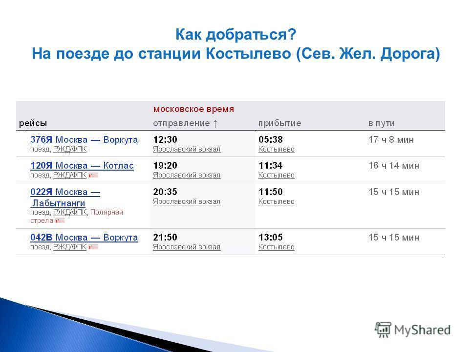 Как добраться? На поезде до станции Костылево (Сев. Жел. Дорога)