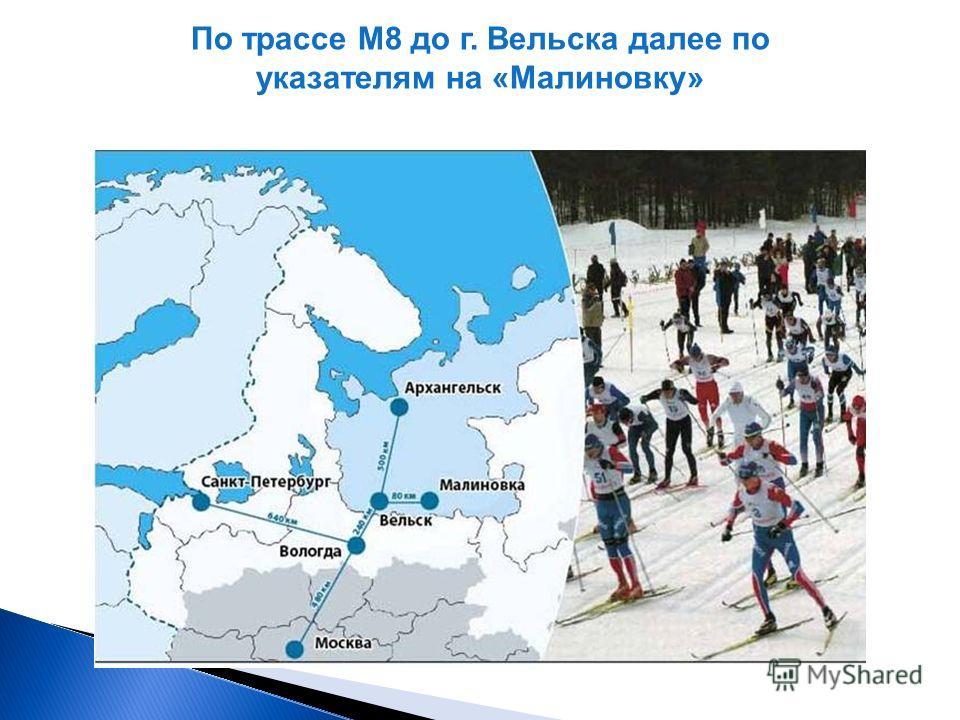 По трассе М8 до г. Вельска далее по указателям на «Малиновку»