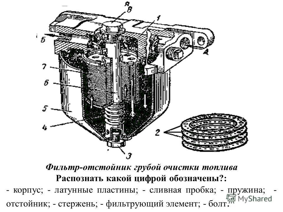 Фильтр-отстойник грубой очистки топлива Распознать какой цифрой обозначены?: - корпус; - латунные пластины; - сливная пробка; - пружина; - отстойник; - стержень; - фильтрующий элемент; - болт.