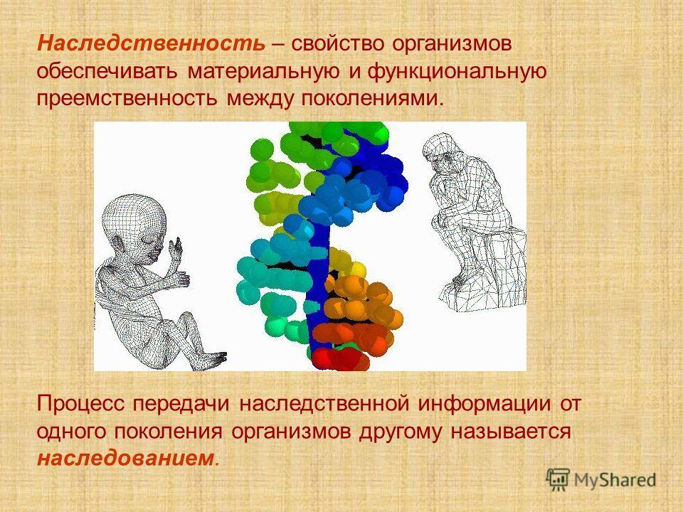 Наследственность – свойство организмов обеспечивать материальную и функциональную преемственность между поколениями. Процесс передачи наследственной информации от одного поколения организмов другому называется наследованием.