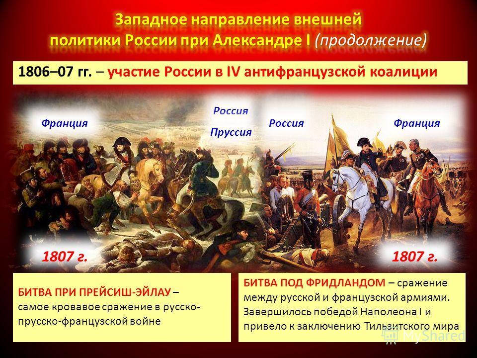 1806–07 гг. – участие России в IV антифранцузской коалиции БИТВА ПРИ ПРЕЙСИШ-ЭЙЛАУ – самое кровавое сражение в русско- прусско-французской войне БИТВА ПОД ФРИДЛАНДОМ – сражение между русской и французской армиями. Завершилось победой Наполеона I и пр