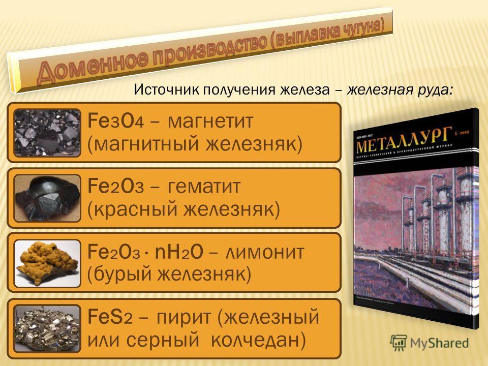 Источник получения железа – железная руда: Fe 3 O 4 – магнетит (магнитный железняк) Fe 2 O 3 – гематит (красный железняк) Fe 2 O 3 nH 2 O – лимонит (бурый железняк) FeS 2 – пирит (железный или серный колчедан)