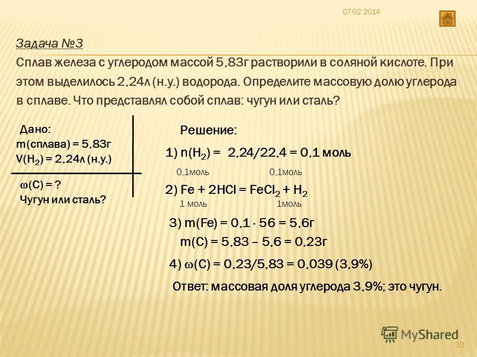 Задача 3 Сплав железа с углеродом массой 5,83г растворили в соляной кислоте. При этом выделилось 2,24л (н.у.) водорода. Определите массовую долю углерода в сплаве. Что представлял собой сплав: чугун или сталь? Дано: m(сплава) = 5,83г V(Н 2 ) = 2,24л
