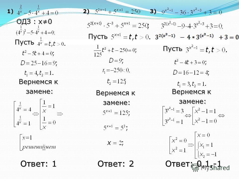 1) 2) 3) Ответ: 1 ОДЗ : x0 Пусть Вернемся к замене: замене: Ответ: 2 Пусть Вернемся к замене: замене: Пусть Вернемся к замене: замене: Ответ: 0,1,-1