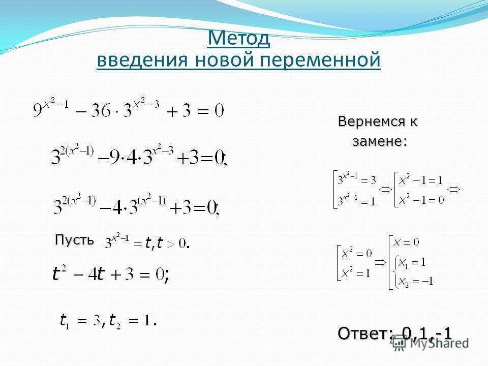 Метод введения новой переменной Пусть Вернемся к замене: замене: Ответ: 0,1,-1