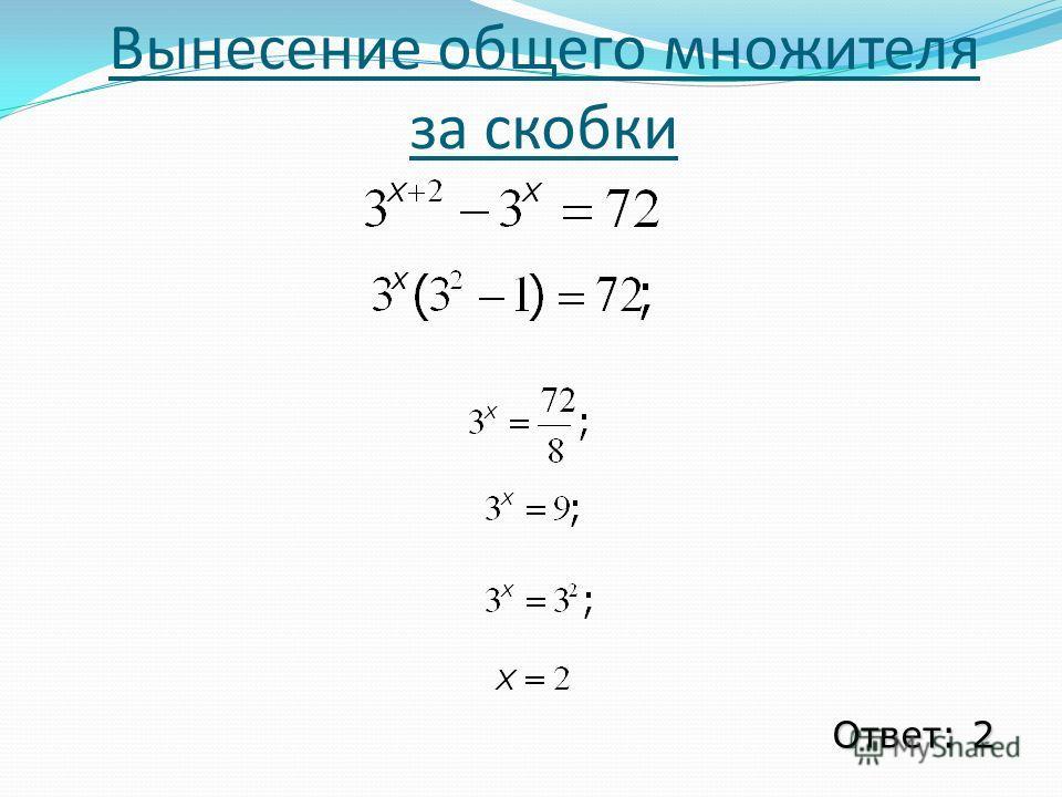 Вынесение общего множителя за скобки Ответ: 2