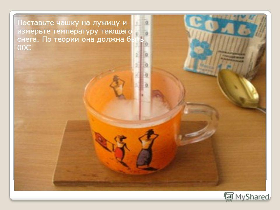 Поставьте чашку на лужицу и измерьте температуру тающего снега. По теории она должна быть 00С