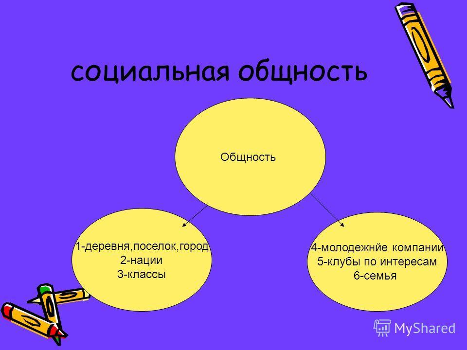 социальная общность Общность 1-деревня,поселок,город 2-нации 3-классы 4-молодежнйе компании 5-клубы по интересам 6-семья