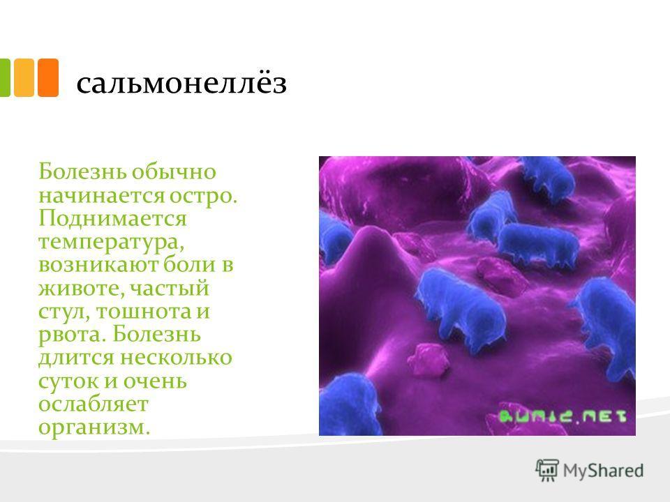 сальмонеллёз Болезнь обычно начинается остро. Поднимается температура, возникают боли в животе, частый стул, тошнота и рвота. Болезнь длится несколько суток и очень ослабляет организм.