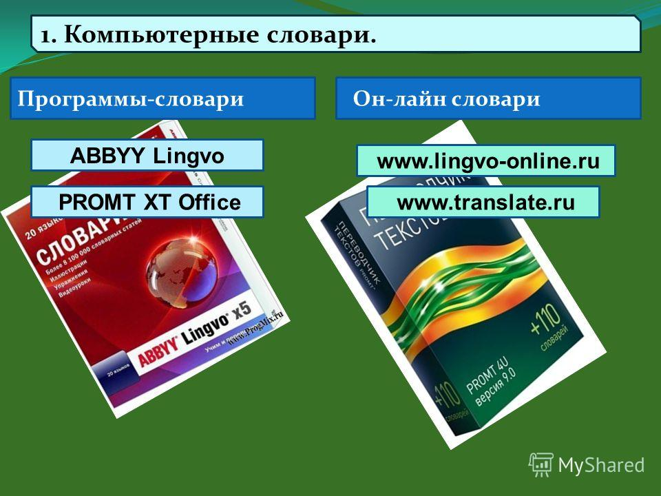 Программы-словари Он-лайн словари ABBYY Lingvo PROMT XT Office 1. Компьютерные словари. www.lingvo-online.ru www.translate.ru