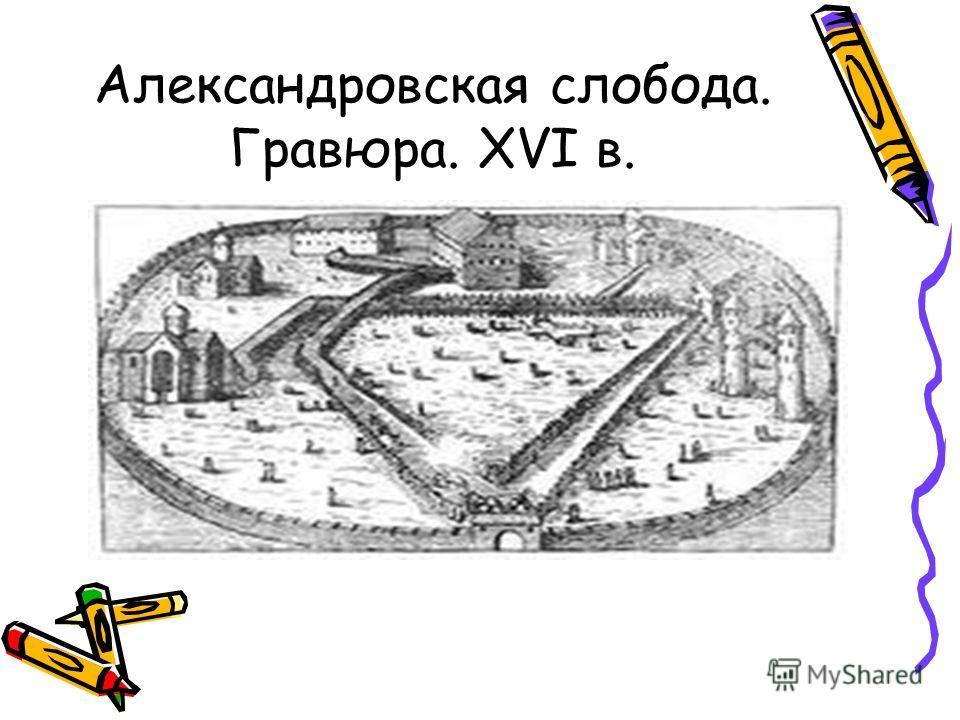Александровская слобода. Гравюра. XVI в.