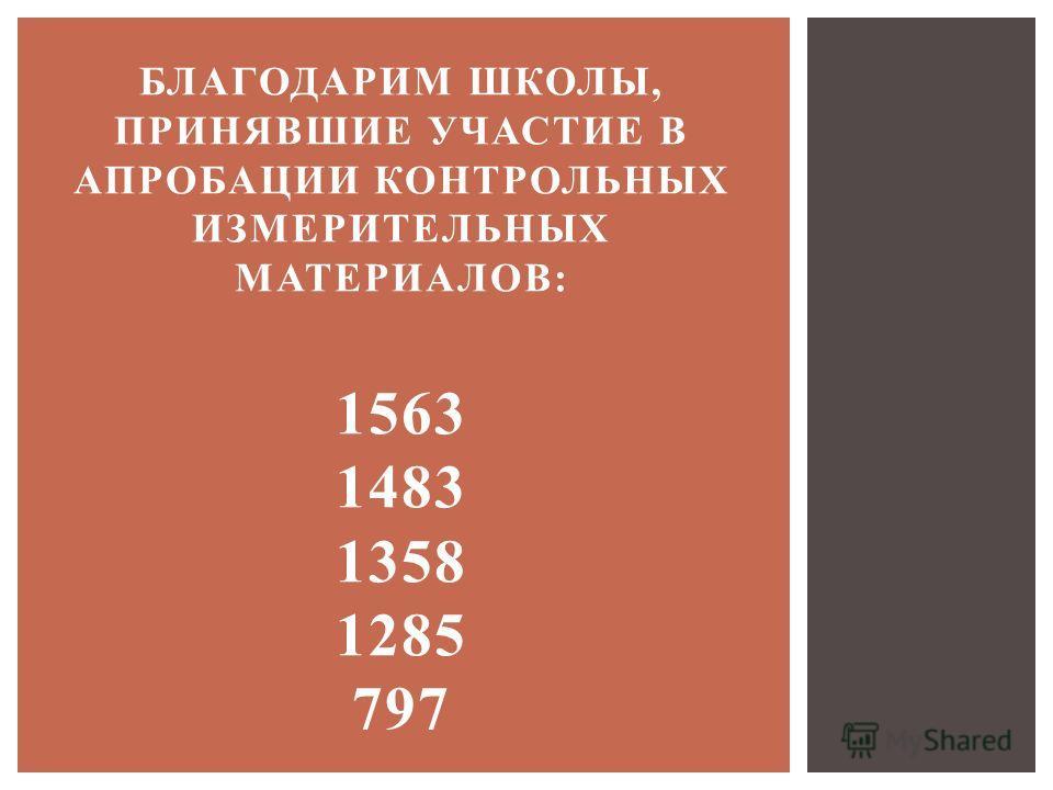 БЛАГОДАРИМ ШКОЛЫ, ПРИНЯВШИЕ УЧАСТИЕ В АПРОБАЦИИ КОНТРОЛЬНЫХ ИЗМЕРИТЕЛЬНЫХ МАТЕРИАЛОВ: 1563 1483 1358 1285 797