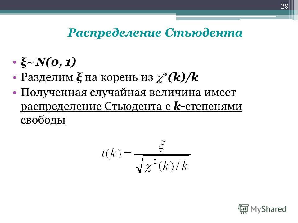 Распределение Стьюдента ξ N(0, 1) Разделим ξ на корень из 2 (k)/k Полученная случайная величина имеет распределение Стьюдента с k-степенями свободы 28