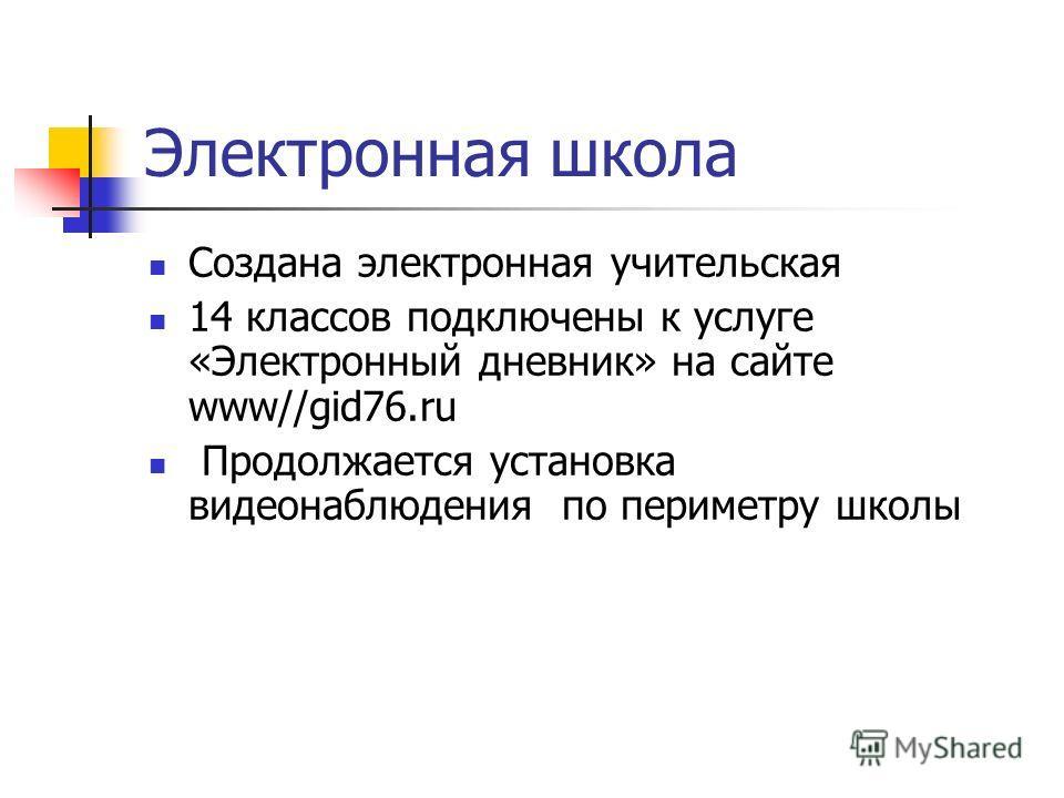 Электронная школа Создана электронная учительская 14 классов подключены к услуге «Электронный дневник» на сайте www//gid76.ru Продолжается установка видеонаблюдения по периметру школы