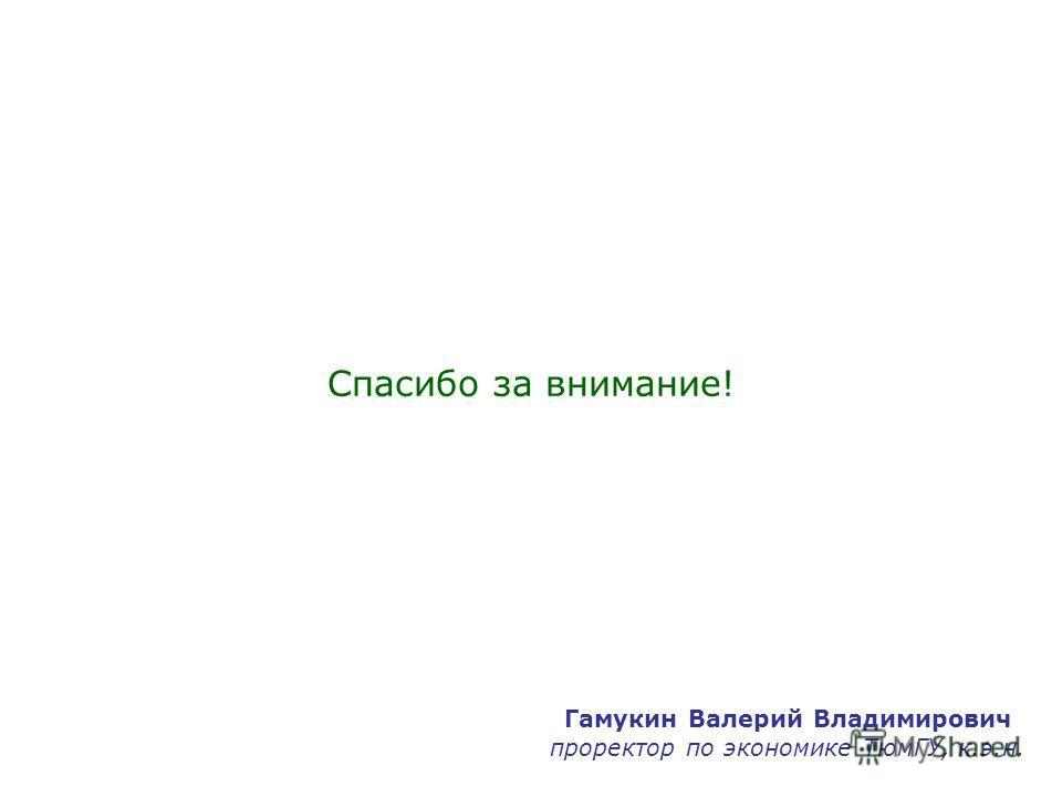 Спасибо за внимание! Гамукин Валерий Владимирович проректор по экономике ТюмГУ, к.э.н.