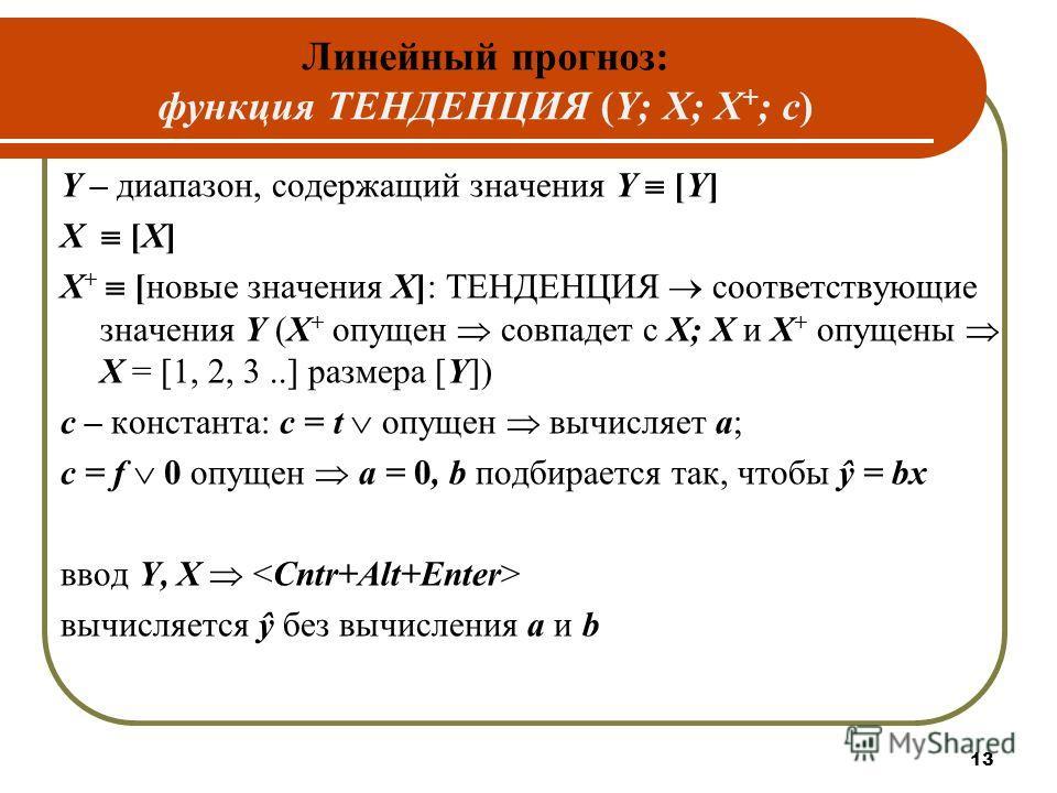 Линейный прогноз: функция ТЕНДЕНЦИЯ (Y; X; X + ; c) Y – диапазон, содержащий значения Y [Y] X [X] Х + [новые значения X]: ТЕНДЕНЦИЯ соответствующие значения Y (X + опущен совпадет с Х; Х и X + опущены Х = [1, 2, 3..] размера [Y]) c – константа: с = t
