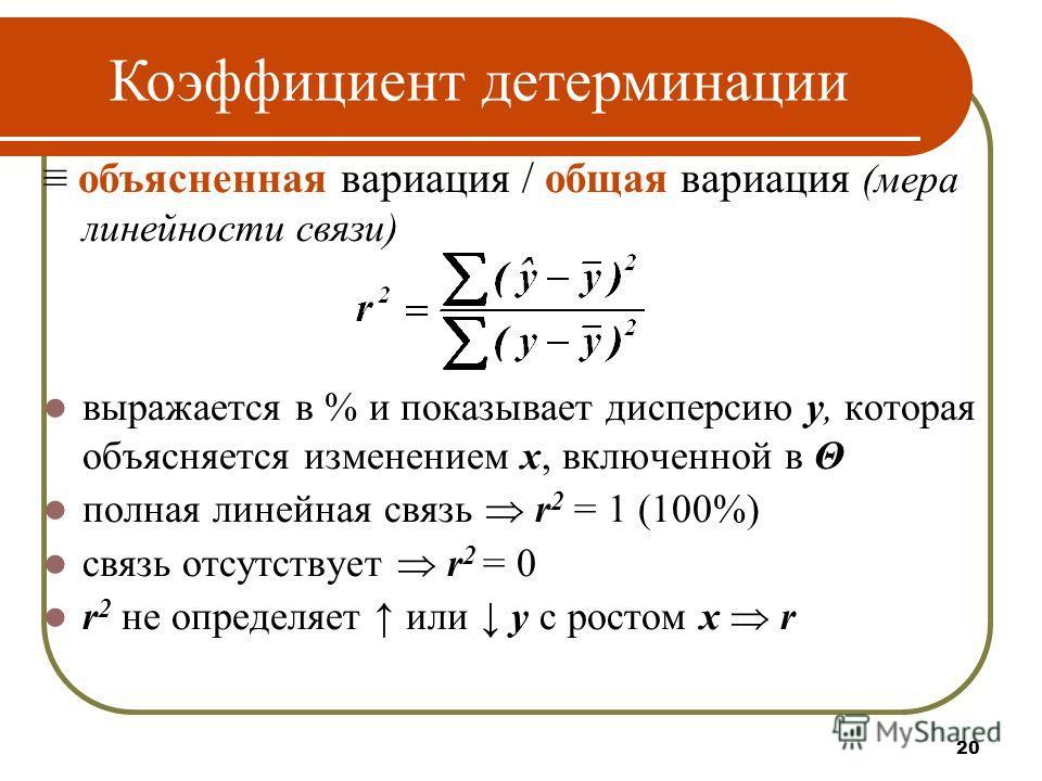 20 объясненная вариация / общая вариация (мера линейности связи) выражается в % и показывает дисперсию у, которая объясняется изменением х, включенной в Θ полная линейная связь r 2 = 1 (100%) связь отсутствует r 2 = 0 r 2 не определяет или у с ростом