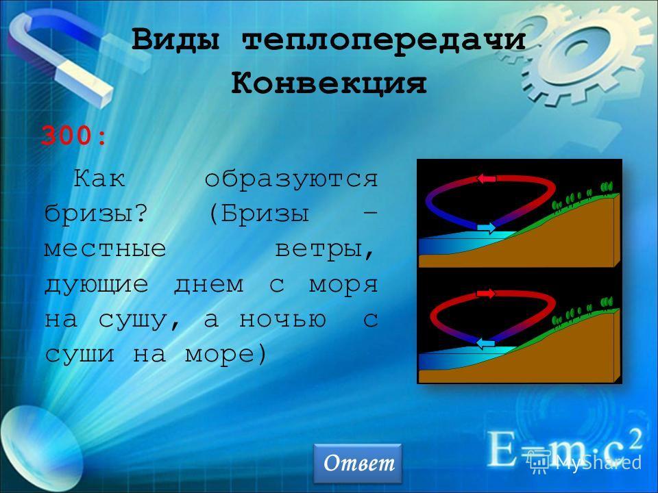Виды теплопередачи Конвекция 300: Как образуются бризы? (Бризы – местные ветры, дующие днем с моря на сушу, а ночью с суши на море) Ответ