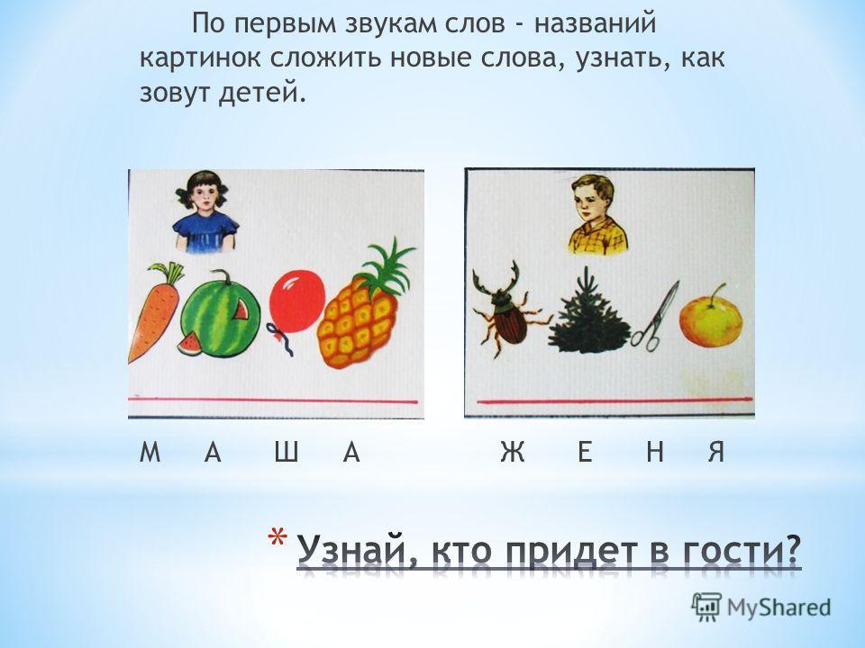 По первым звукам слов - названий картинок сложить новые слова, узнать, как зовут детей. М А Ш А Ж Е Н Я