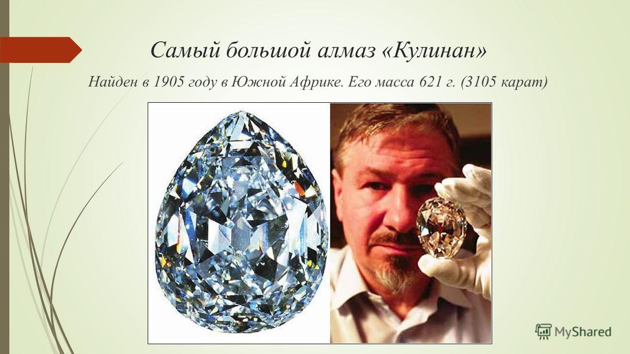 Самый большой алмаз «Кулинан» Найден в 1905 году в Южной Африке. Его масса 621 г. (3105 карат)