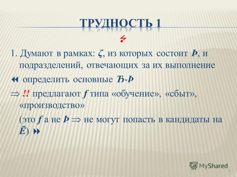 1. Думают в рамках: ζ, из которых состоит Þ, и подразделений, отвечающих за их выполнение определить основные Ђ-Þ !! предлагают f типа «обучение», «сбыт», «производство» (это f а не Þ не могут попасть в кандидаты на Ē) 3
