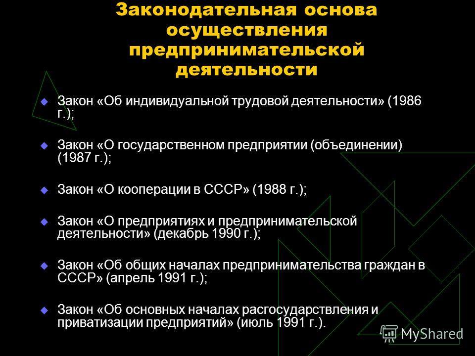 Законодательная основа осуществления предпринимательской деятельности Закон «Об индивидуальной трудовой деятельности» (1986 г.); Закон «О государственном предприятии (объединении) (1987 г.); Закон «О кооперации в СССР» (1988 г.); Закон «О предприятия