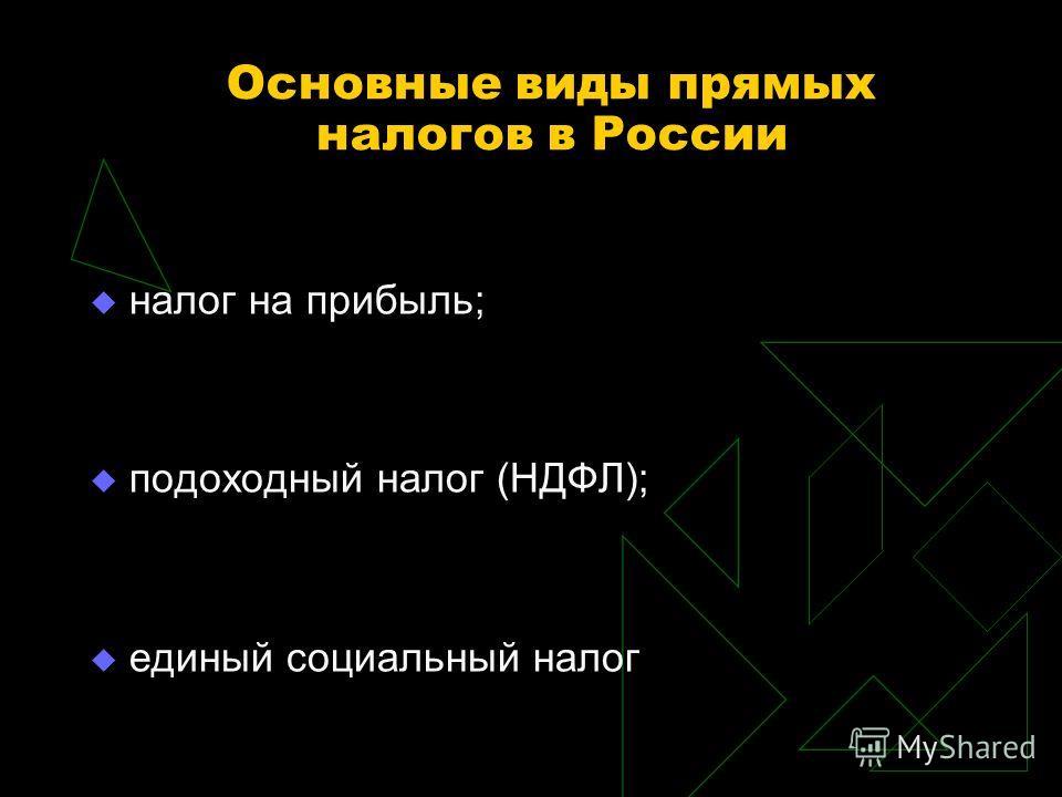 Основные виды прямых налогов в России налог на прибыль; подоходный налог (НДФЛ); единый социальный налог