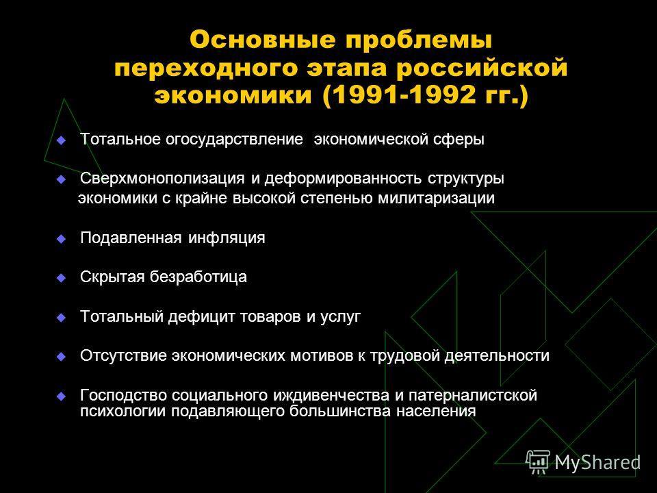 Основные проблемы переходного этапа российской экономики (1991-1992 гг.) Тотальное огосударствление экономической сферы Сверхмонополизация и деформированность структуры экономики с крайне высокой степенью милитаризации Подавленная инфляция Скрытая бе